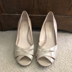 Franco Sarto Patent Leather Nude Wedges